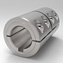 One-Piece Split Clamp-Type Rigid Shaft Couplings with Keyways - Stainless Steel
